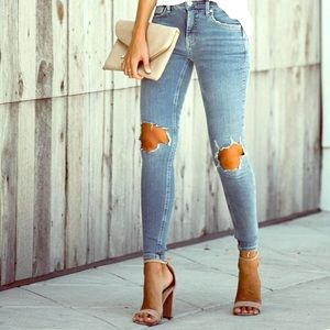 Football Sunday High Rise Ripped Jeans